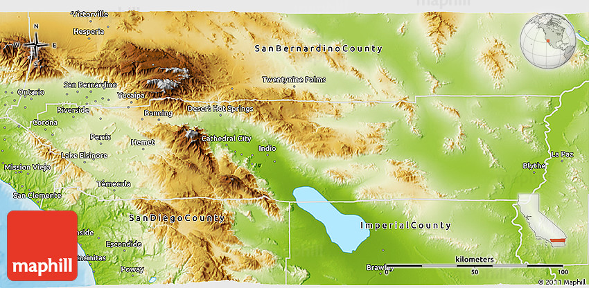 Physical 3D Map of Riverside County
