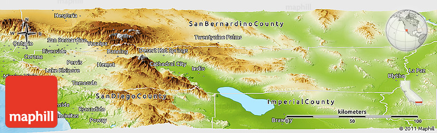 Physical Panoramic Map of Riverside County