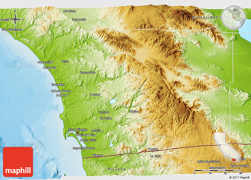 California Map San Diego County.Physical 3d Map Of San Diego County