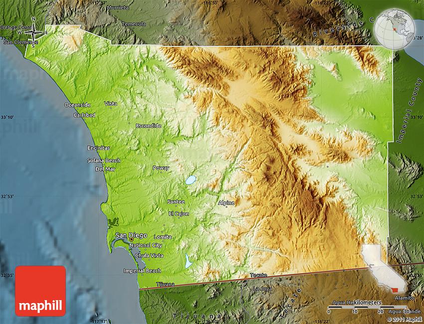 Physical Map Of San Diego County Darken