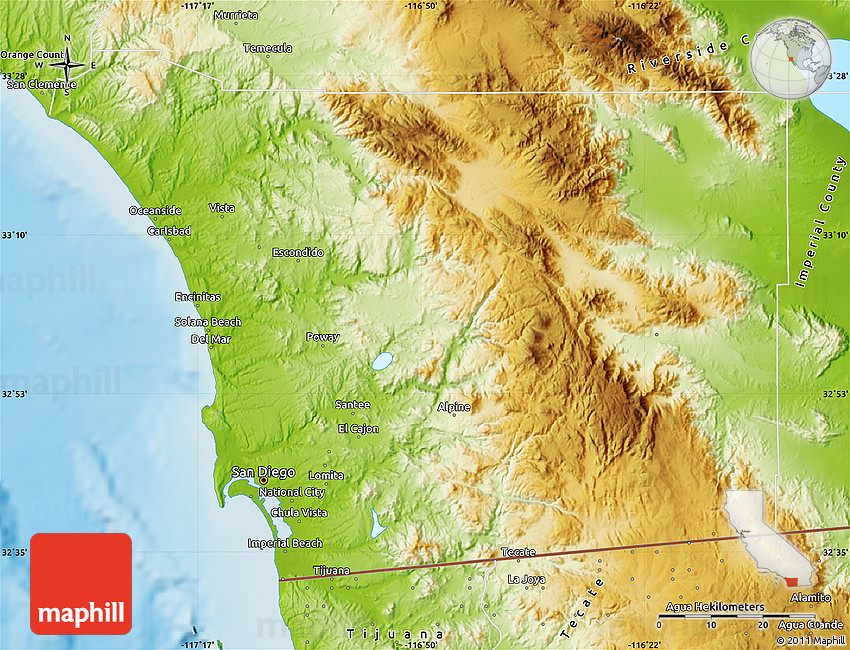 Topographic Map Of San Diego.Physical Map Of San Diego County