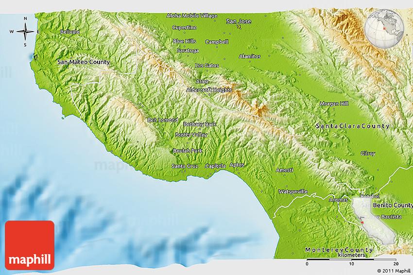 Physical 3D Map of Santa Cruz County on cambria california map, valencia santa clarita california map, carmel california map, aptos california map, marin california map, san diego california map, del monte california map, san francisco california map, sonoma coast california map, long beach california map, solvang california map, big sur california map, stockton california map, san jose california map, monterey california map, sebastopol california map, los angeles california map, merced california map, oakland california map, berkeley california map,