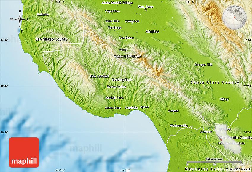 Physical Map of Santa Cruz County on cambria california map, valencia santa clarita california map, carmel california map, aptos california map, marin california map, san diego california map, del monte california map, san francisco california map, sonoma coast california map, long beach california map, solvang california map, big sur california map, stockton california map, san jose california map, monterey california map, sebastopol california map, los angeles california map, merced california map, oakland california map, berkeley california map,