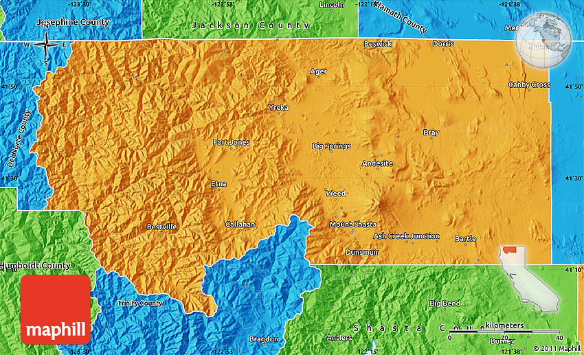 Political Map Of Siskiyou County