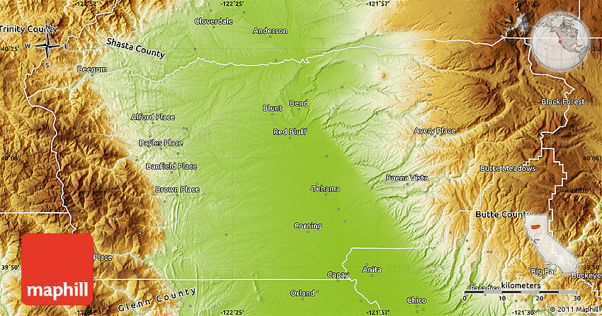 Physical Map Of Tehama County