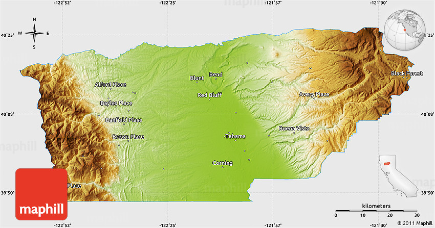 Physical Map Of Tehama County Single Color Outside
