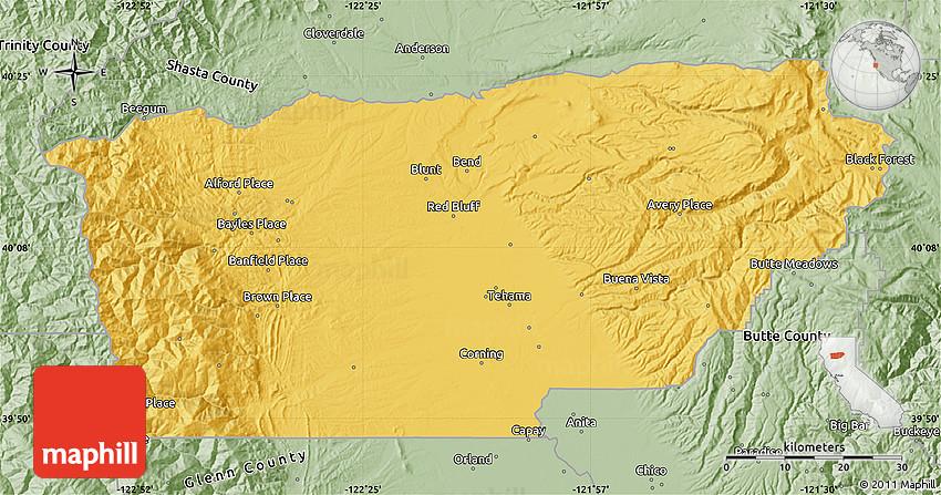 Savanna Style Map Of Tehama County