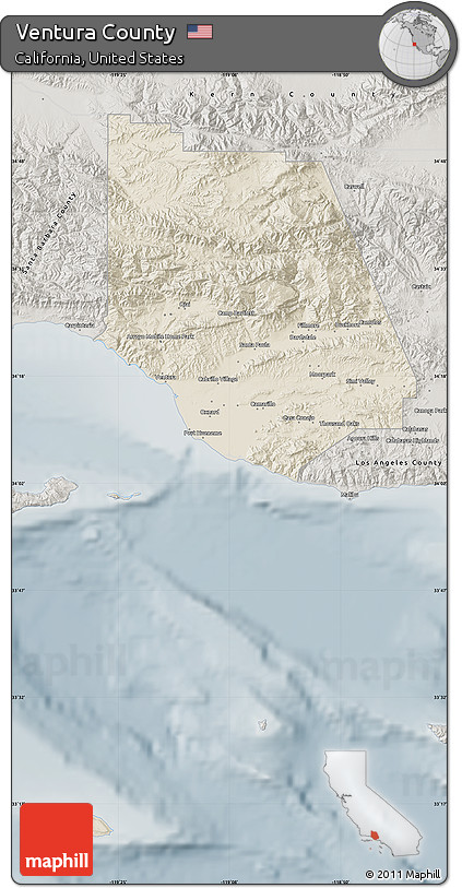 Map Of California Ventura.Free Shaded Relief Map Of Ventura County Semi Desaturated