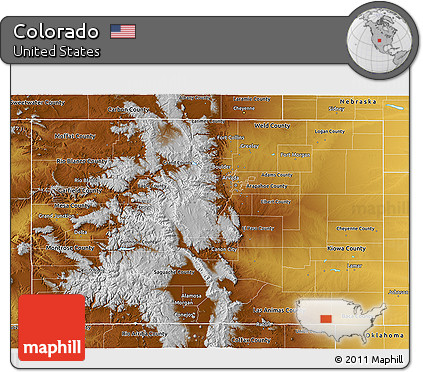 Free Physical 3D Map of Colorado