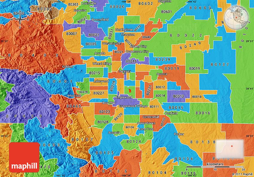 Political Map of ZIP Code 80208