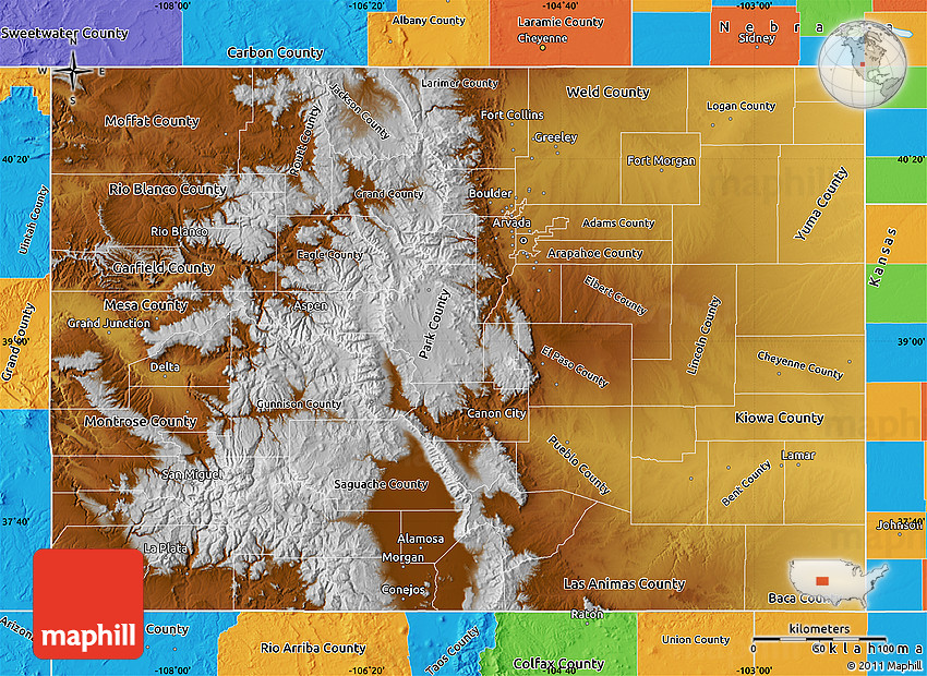 Physical Map of Colorado political outside