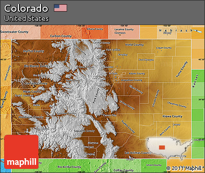 Free Physical Map Of Colorado Political Shades Outside
