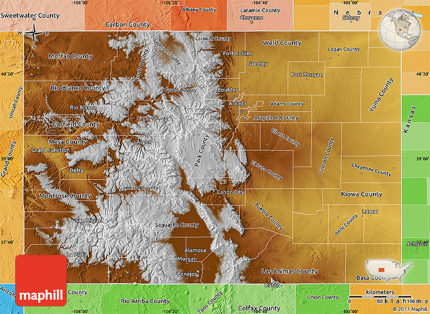 Physical Map of Colorado, political shades outside