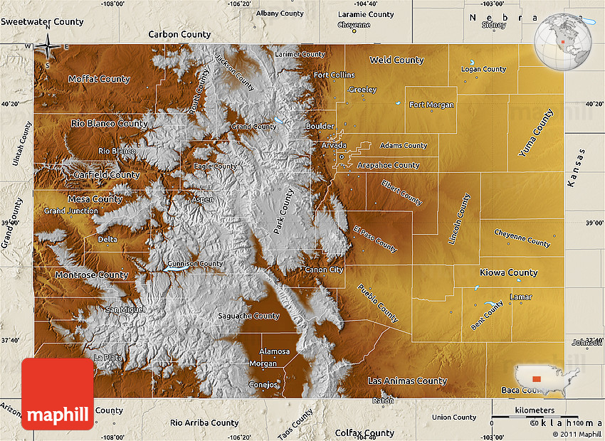 Physical Map of Colorado shaded relief outside