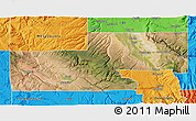 Satellite 3D Map of Montrose County, political outside
