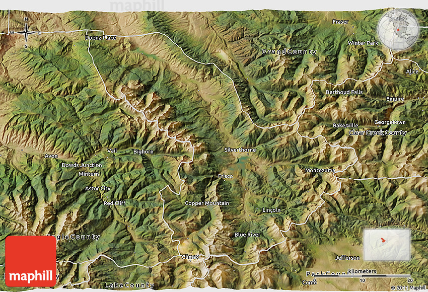 Satellite 3D Map of Summit County on