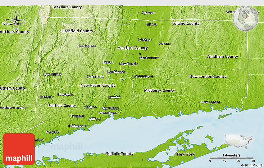 Physical 3D Map Of Connecticut