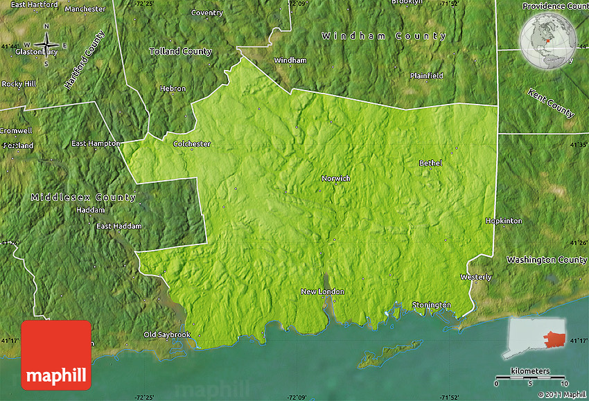 Physical Map Of New London County Satellite Outside