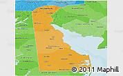 Political Shades Panoramic Map of Delaware