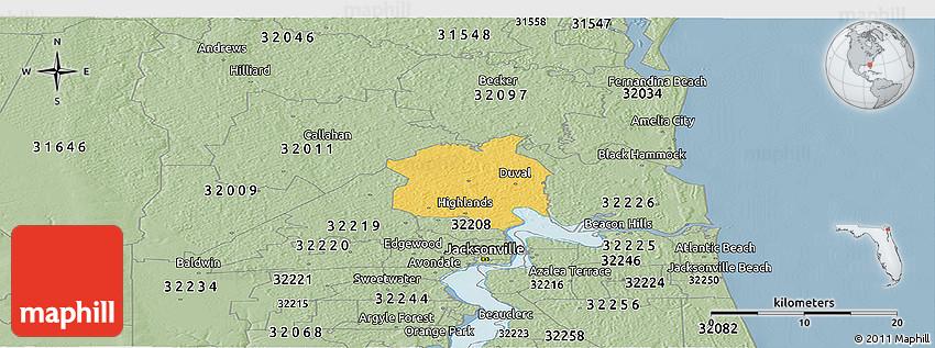 Hilliard Zip Code Map.Savanna Style Panoramic Map Of Zip Code 32218