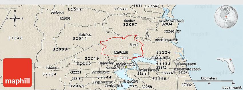 32216 Zip Code Map.Shaded Relief Panoramic Map Of Zip Code 32218