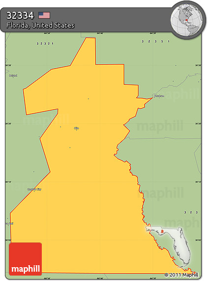 Free Savanna Style Simple Map of ZIP Code 32334