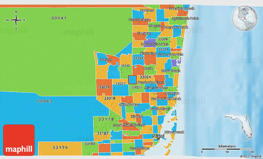 Political 3d Map Of Zip Code 33026