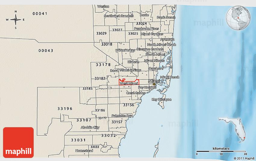 Shaded Relief 3D Map of ZIP Code 33126