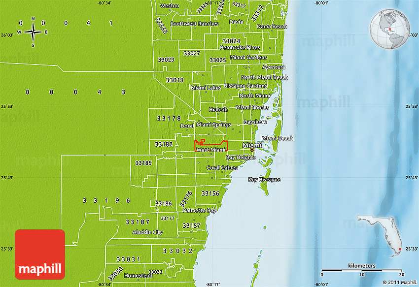 Physical Map Of Florida.Physical Map Of Zip Code 33126