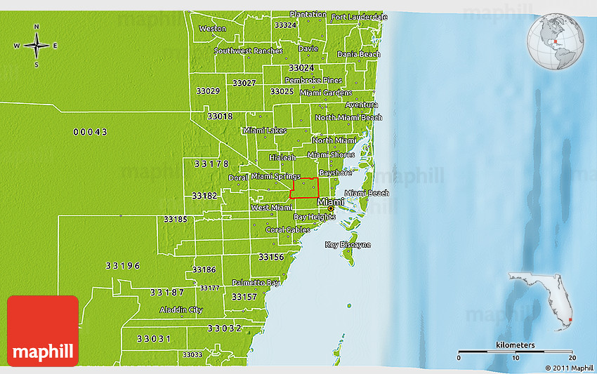 Physical 3D Map of ZIP Code 33142