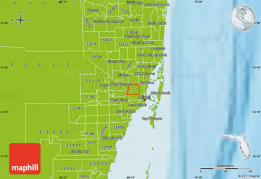 Physical Map of ZIP Code 33142