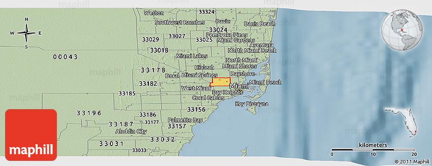Savanna Style Panoramic Map of ZIP Code 33142