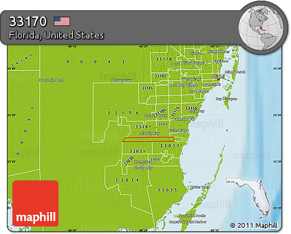 Physical Map Of Florida.Free Physical Map Of Zip Code 33170
