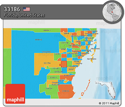 Free Political 3D Map of ZIP Code 33186