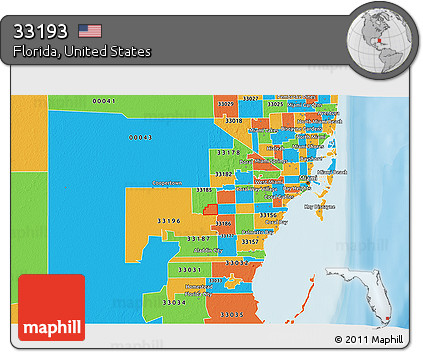 Political Map Of Florida.Free Political 3d Map Of Zip Code 33193