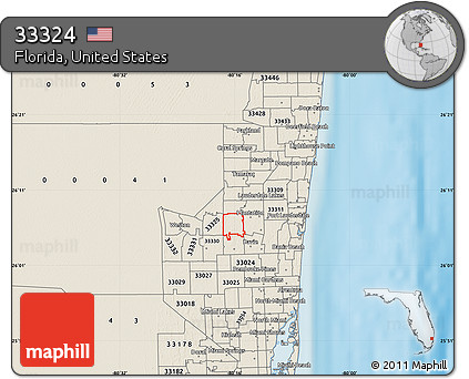 Free Shaded Relief Map of ZIP Code 33324