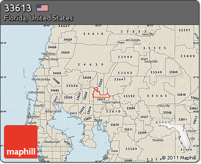 33613 Zip Code Map.Free Shaded Relief Map Of Zip Code 33613