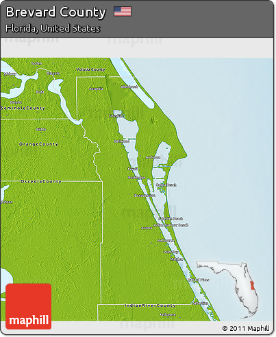 Free Physical 3D Map of Brevard County