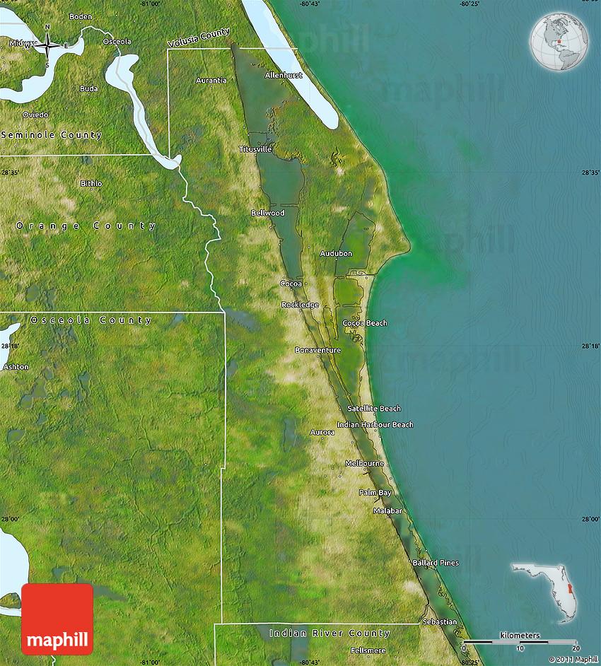 Satellite Map of Brevard County