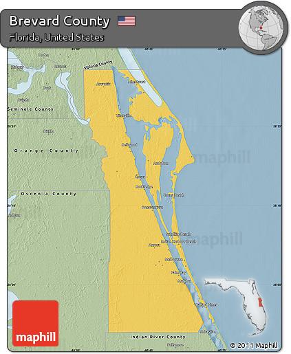 Map Of Brevard County Florida.Free Savanna Style Map Of Brevard County