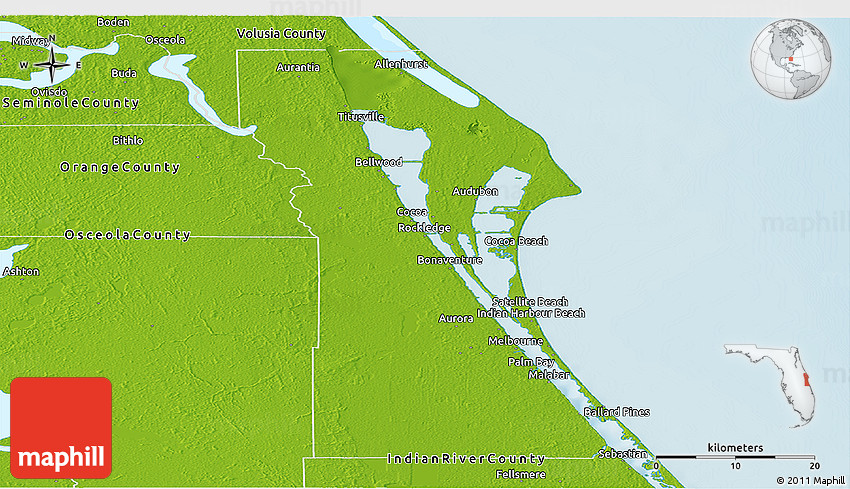 Physical Panoramic Map of Brevard County