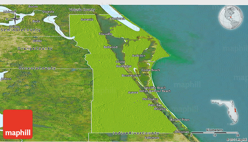 Physical Panoramic Map of Brevard County satellite outside