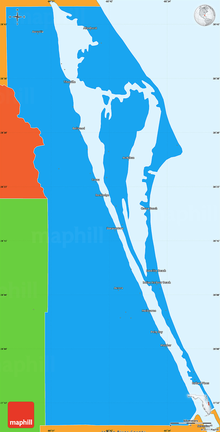 Political Simple Map of Brevard County
