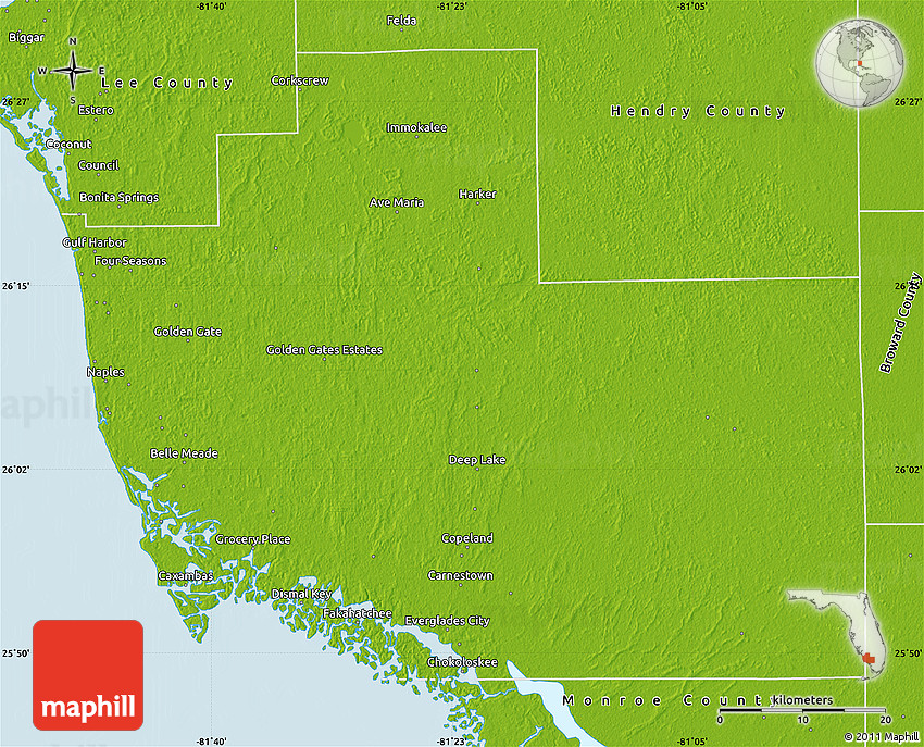 Physical Map Of Florida.Physical Map Of Collier County