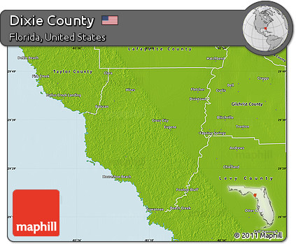 Physical Map Of Florida.Free Physical Map Of Dixie County