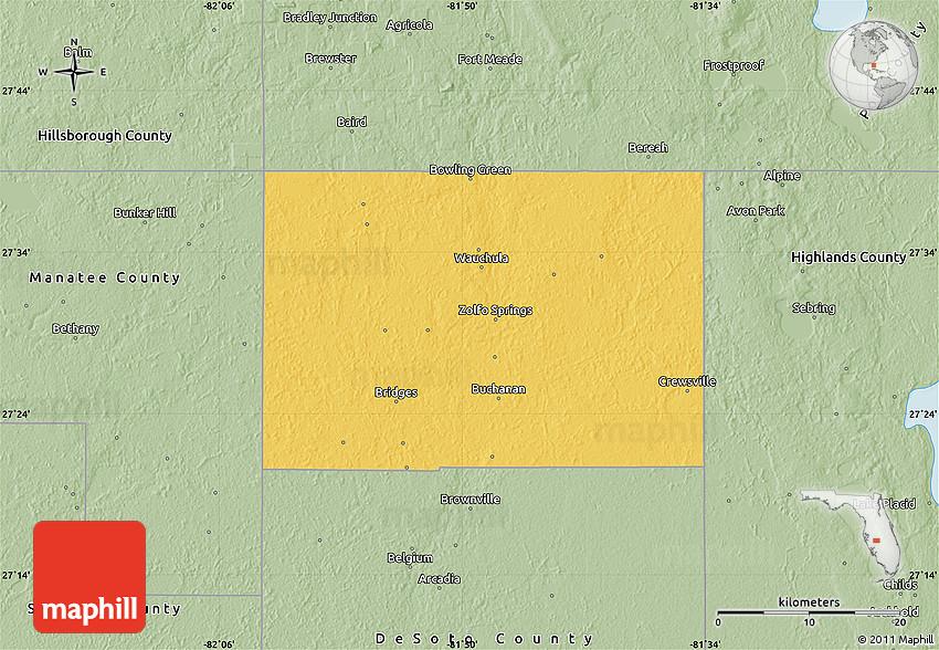 Savanna Style Map Of Hardee County