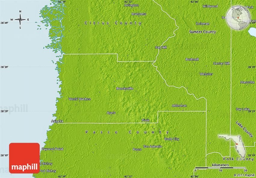 Physical Map of Hernando County on west central florida beach map, pine island florida beach map, johnson county florida map, stetson university florida map, nobleton florida map, tampa florida map, martin county florida map, brooksville fl map, miami county florida map, fernandina beach county florida map, marshall county florida map, delaware florida map, fort myers florida map, pasco county florida map, saint johns county florida map, spring hill florida map, hillsborough county fl map, hernando florida zip code, st. johns river florida map, arkansas florida map,