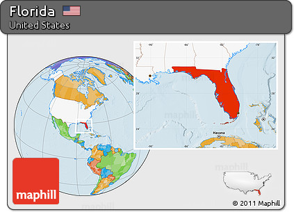 Free Political Location Map Of Florida Highlighted Country - Us map with florida highlighted