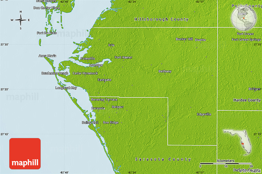 Physical Map of Manatee County on lake manatee map, port manatee map, hillsborough county map, longboat key county map, otter county map, florida map, naples map, west volusia county map, manatee river map, seminole county map, charlotte county map, manatee zoning map, polk county map, st. augustine map, sarasota map, tampa county map, manatee springs state park map, broward county map, st. johns county map, pinellas county map,
