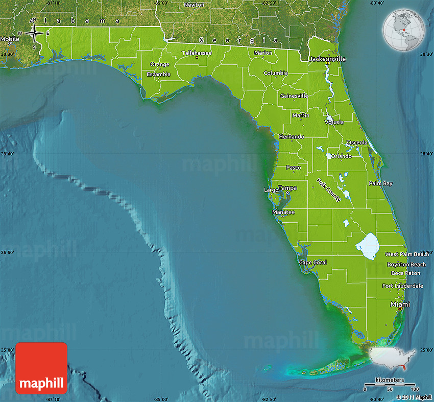 Physical Map of Florida satellite outside